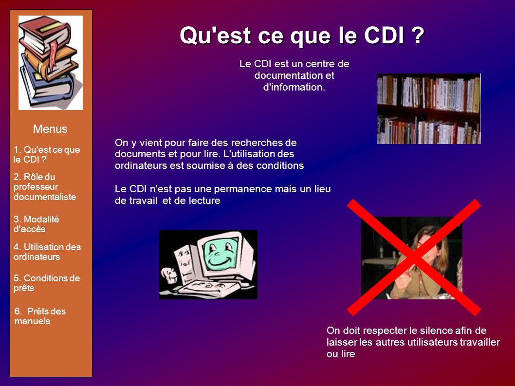Qu'est ce que le CDI ? On y vient pour faire des recherches de documents et pour lire. L'utilisation des ordinateurs est soumise à des conditions Le C