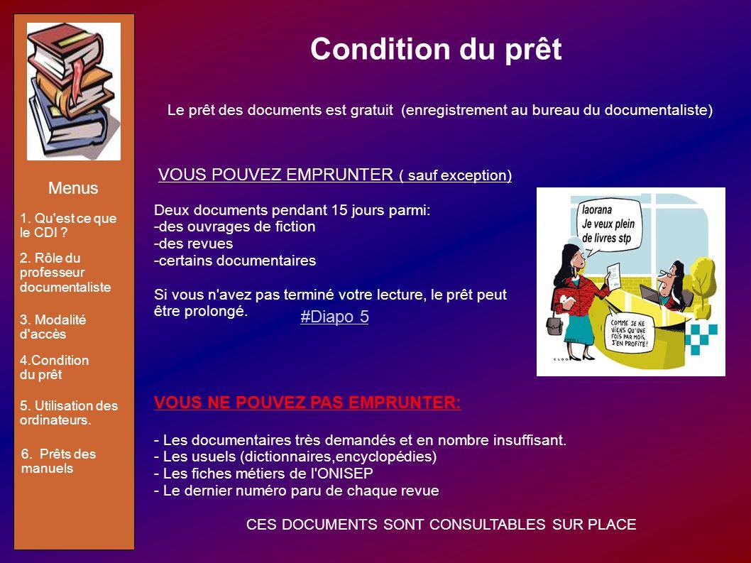 Condition du prêt Le prêt des documents est gratuit (enregistrement au bureau du documentaliste) VOUS POUVEZ EMPRUNTER ( sauf exception) Deux document
