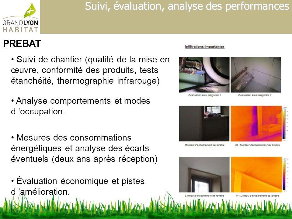 Suivi, évaluation, analyse des performances Suivi de chantier (qualité de la mise en œuvre, conformité des produits, tests étanchéité, thermographie i