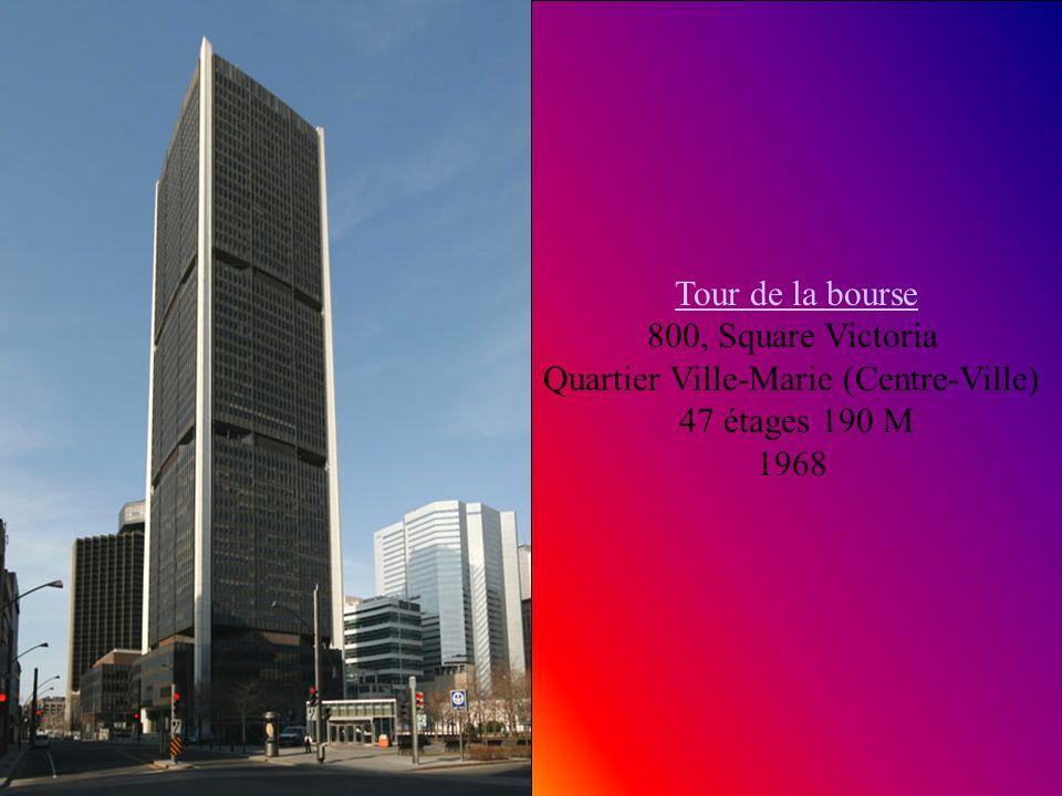 Le 1000 de la Gauchetière Le 1000 de la Gauchetière 1000 de la gauchetière Quartier Ville-Marie (Centre-Ville) 51 étages 205 M 1992