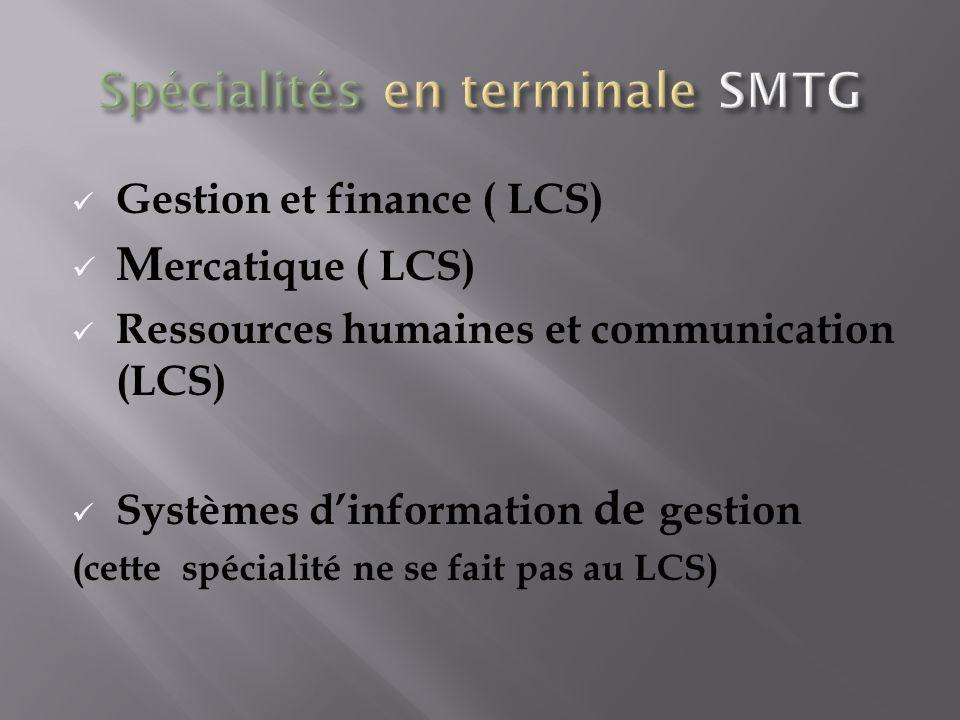 Gestion et finance ( LCS) M ercatique ( LCS) Ressources humaines et communication (LCS) Systèmes dinformation de gestion (cette spécialité ne se fait pas au LCS)