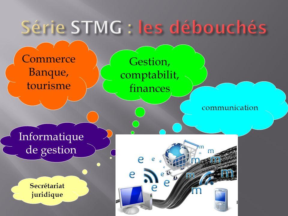 communication Commerce Banque, tourisme Gestion, comptabilit, finances Informatique de gestion Secrétariat juridique