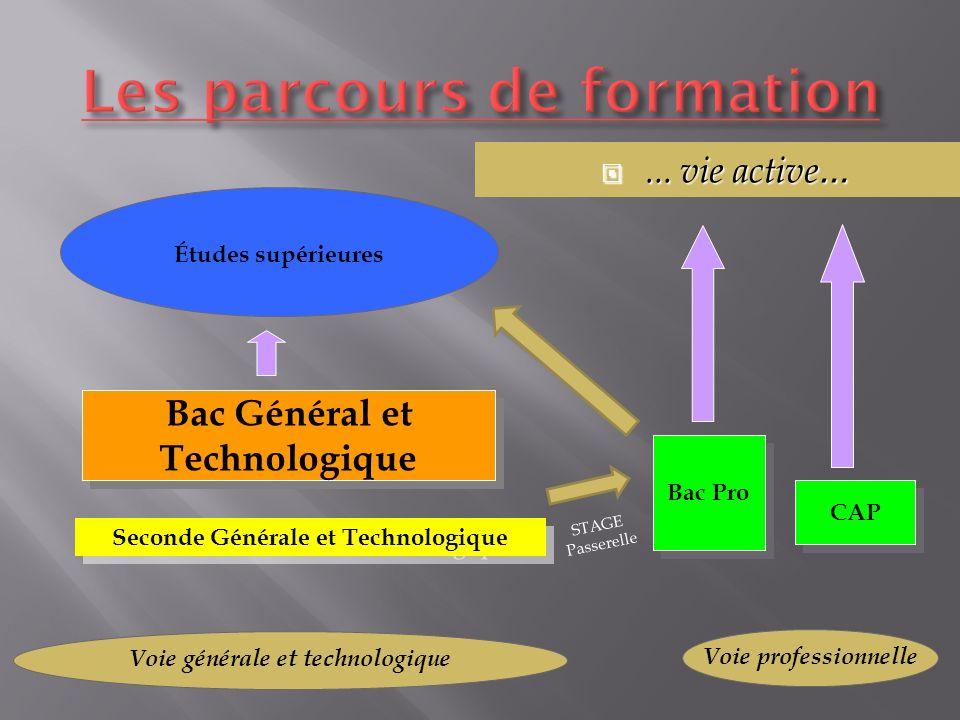 Seconde Générale et Technologique Bac Général et Technologique Études supérieures Bac Pro CAP...