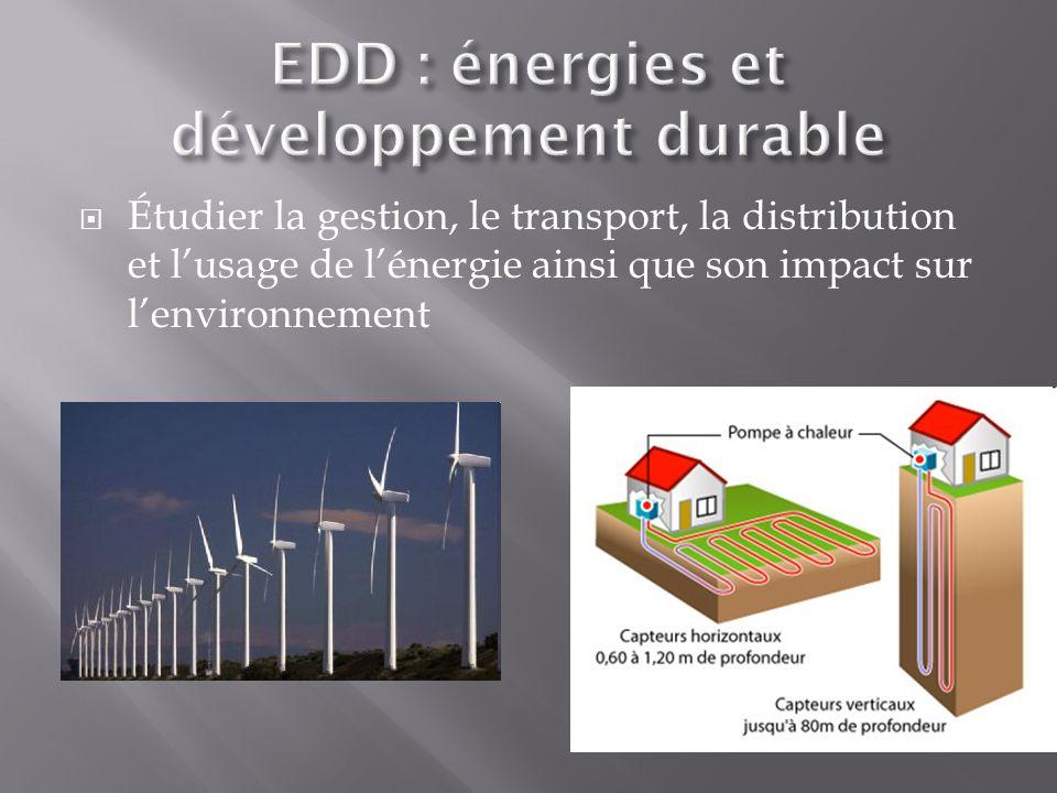 Étudier la gestion, le transport, la distribution et lusage de lénergie ainsi que son impact sur lenvironnement