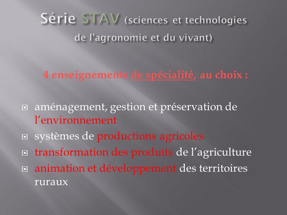 4 enseignements de spécialité, au choix : aménagement, gestion et préservation de lenvironnement systèmes de productions agricoles transformation des produits de lagriculture animation et développement des territoires ruraux