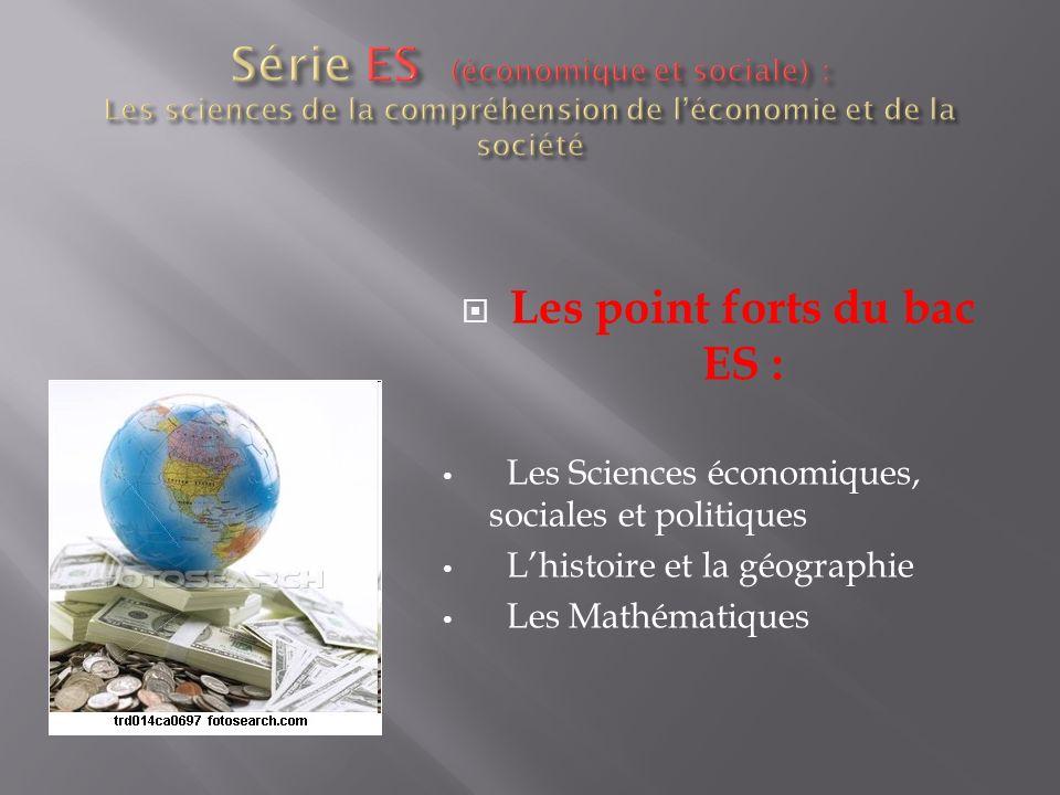 Les point forts du bac ES : Les Sciences économiques, sociales et politiques Lhistoire et la géographie Les Mathématiques