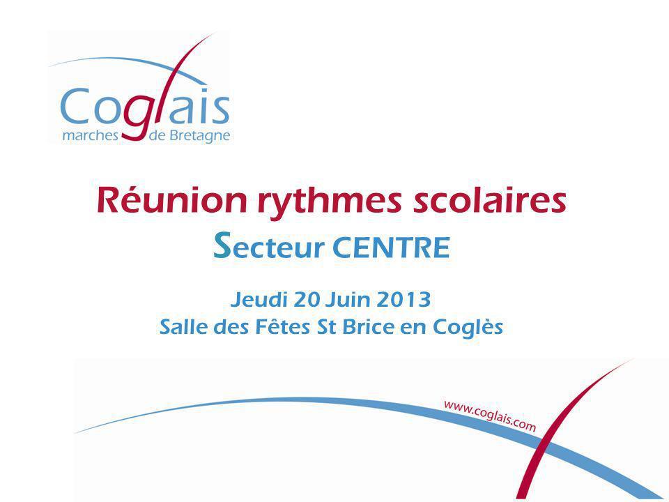 Réunion rythmes scolaires S ecteur CENTRE Jeudi 20 Juin 2013 Salle des Fêtes St Brice en Coglès