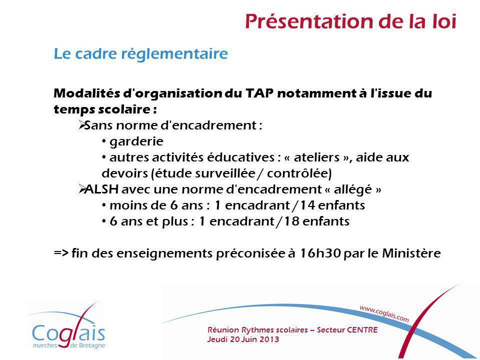 Présentation de la loi Le cadre réglementaire Modalités d'organisation du TAP notamment à l'issue du temps scolaire : Sans norme d'encadrement : garde