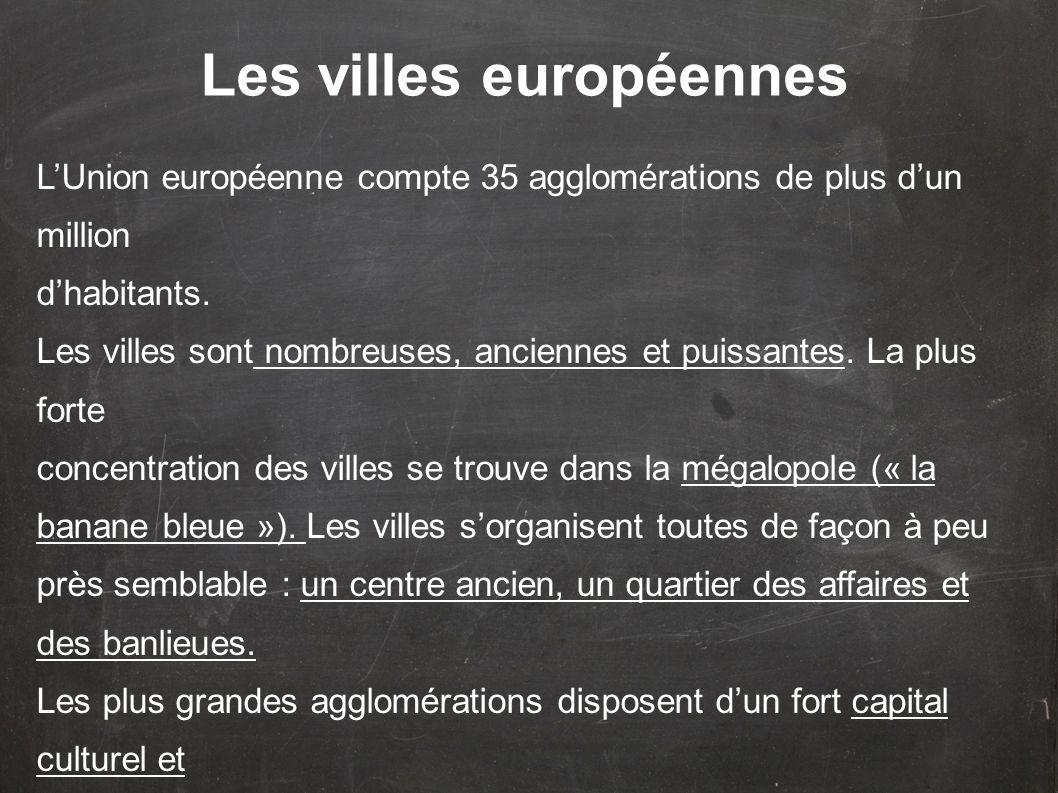 LUnion européenne compte 35 agglomérations de plus dun million dhabitants.