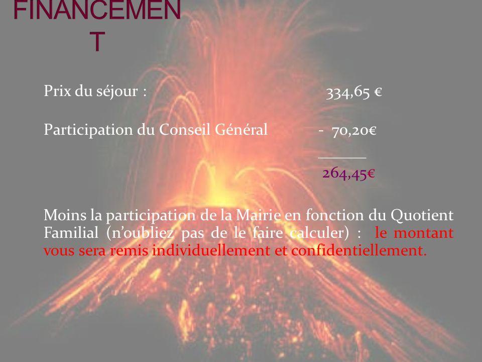 Prix du séjour : 334,65 Participation du Conseil Général- 70,20 ______ 264,45 Moins la participation de la Mairie en fonction du Quotient Familial (no