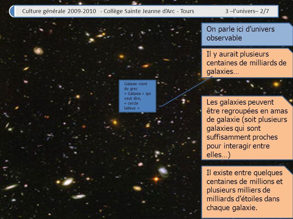 Culture générale 2009-2010 - Collège Sainte Jeanne dArc - Tours 3 –lunivers– 2/7 On parle ici dunivers observable Il y aurait plusieurs centaines de milliards de galaxies… Galaxie vient du grec « Galaxia » qui veut dire, « cercle laiteux » Les galaxies peuvent être regroupées en amas de galaxie (soit plusieurs galaxies qui sont suffisamment proches pour interagir entre elles…) Il existe entre quelques centaines de millions et plusieurs milliers de milliards détoiles dans chaque galaxie.