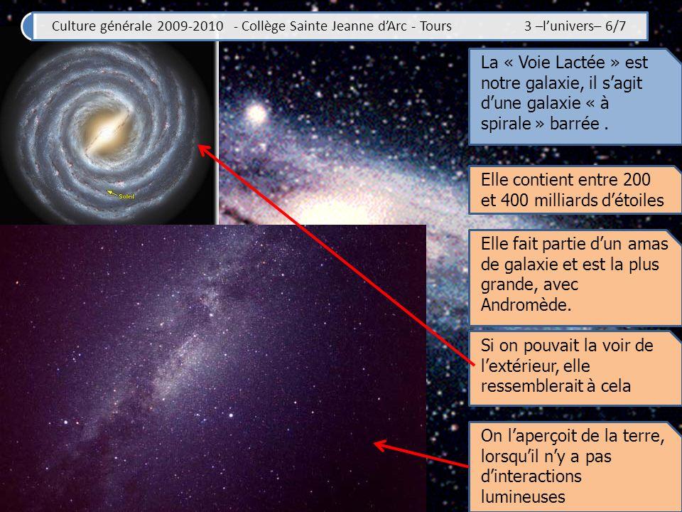 Culture générale 2009-2010 - Collège Sainte Jeanne dArc - Tours 3 –lunivers– 7/7 Résumé de la séance Il y aurait plusieurs centaines de milliards de galaxies dans lunivers… Celle dans laquelle se trouve notre système solaire sappelle la « Voie Lactée » Elle contient entre 200 et 400 milliards détoile Lastronome Hubble a prouvé lexistence des galaxies et en a décrit la « séquence » La NASA a donné son nom à son télescope spatial La voie Lactée serait une galaxie spirale, sans doute barrée