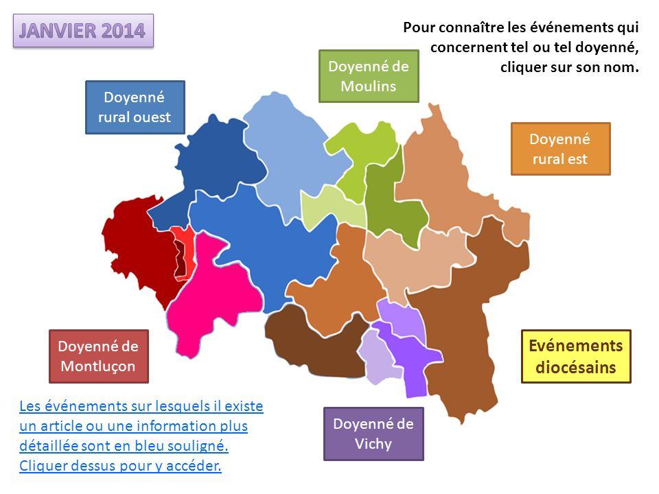 Doyenné de Montluçon Doyenné de Moulins Doyenné rural ouest Doyenné rural est Doyenné de Vichy Les événements sur lesquels il existe un article ou une information plus détaillée sont en bleu souligné.
