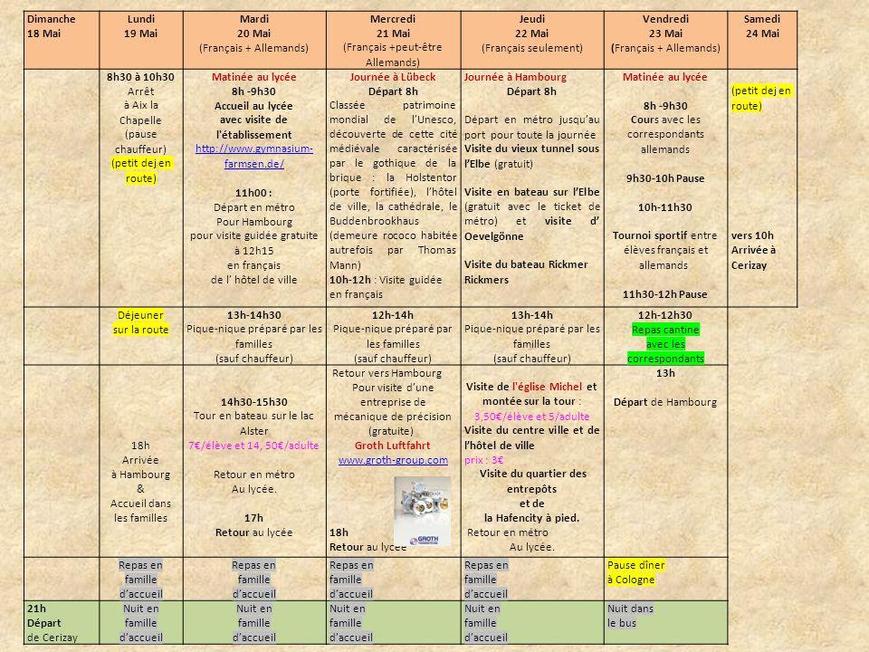 Dimanche 18 mai Départ de Cerizay à 21h