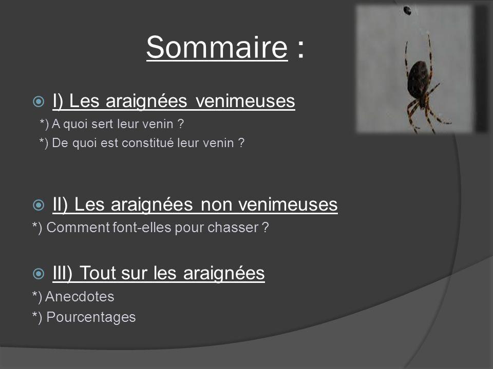 Sommaire : I) Les araignées venimeuses *) A quoi sert leur venin ? *) De quoi est constitué leur venin ? II) Les araignées non venimeuses *) Comment f