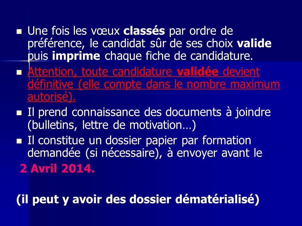 Une fois les vœux classés par ordre de préférence, le candidat sûr de ses choix valide puis imprime chaque fiche de candidature.