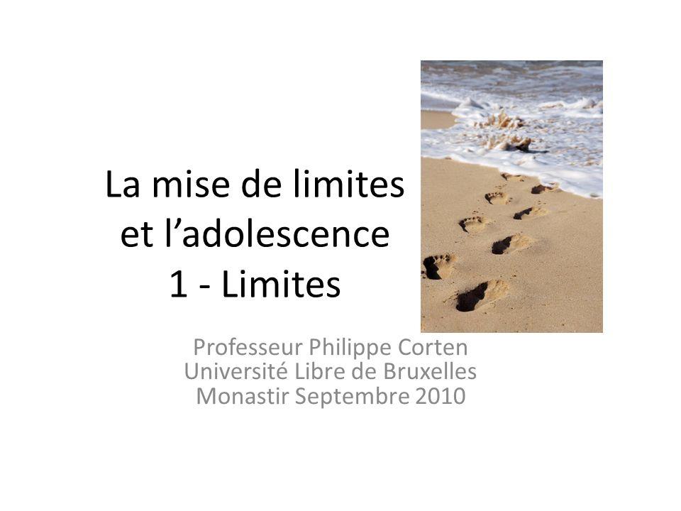 La mise de limites et ladolescence 1 - Limites Professeur Philippe Corten Université Libre de Bruxelles Monastir Septembre 2010