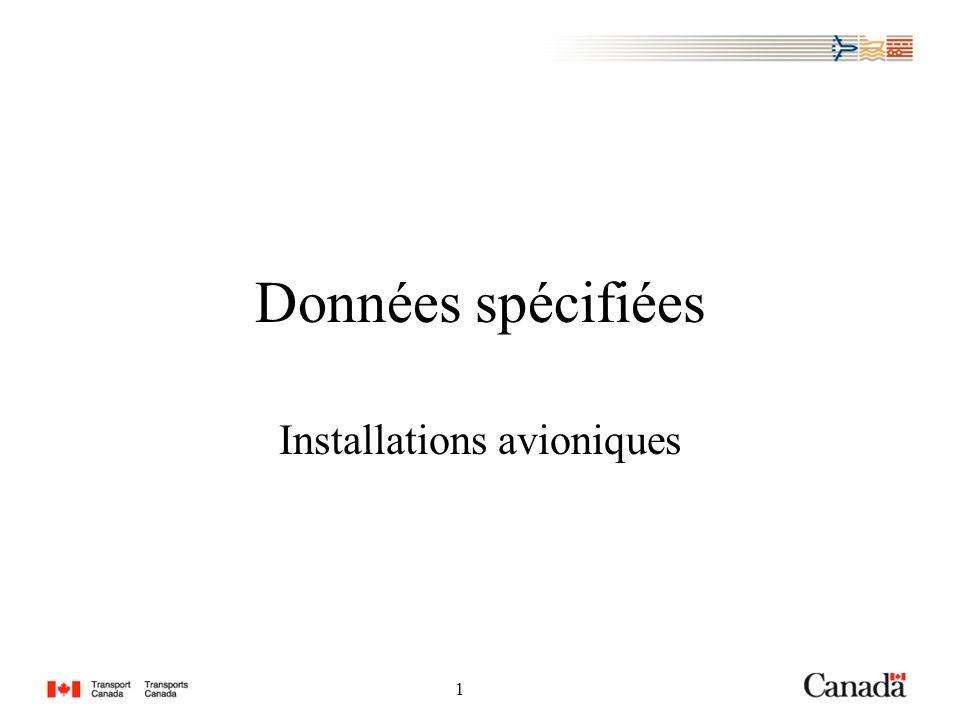 1 1 Données spécifiées Installations avioniques