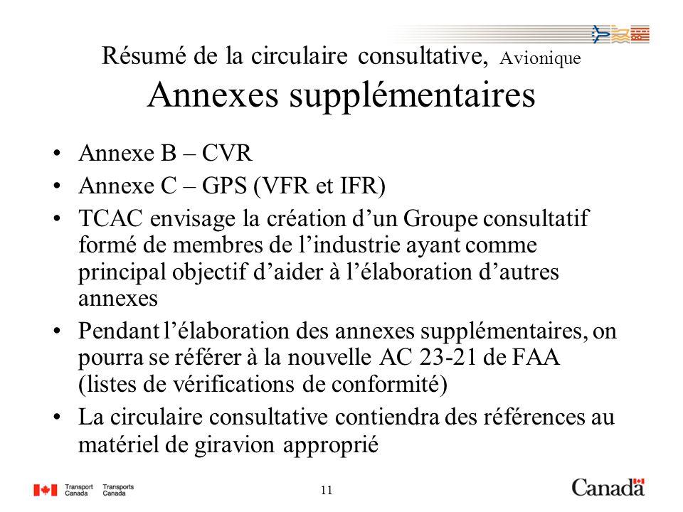 11 Résumé de la circulaire consultative, Avionique Annexes supplémentaires Annexe B – CVR Annexe C – GPS (VFR et IFR) TCAC envisage la création dun Groupe consultatif formé de membres de lindustrie ayant comme principal objectif daider à lélaboration dautres annexes Pendant lélaboration des annexes supplémentaires, on pourra se référer à la nouvelle AC 23-21 de FAA (listes de vérifications de conformité) La circulaire consultative contiendra des références au matériel de giravion approprié
