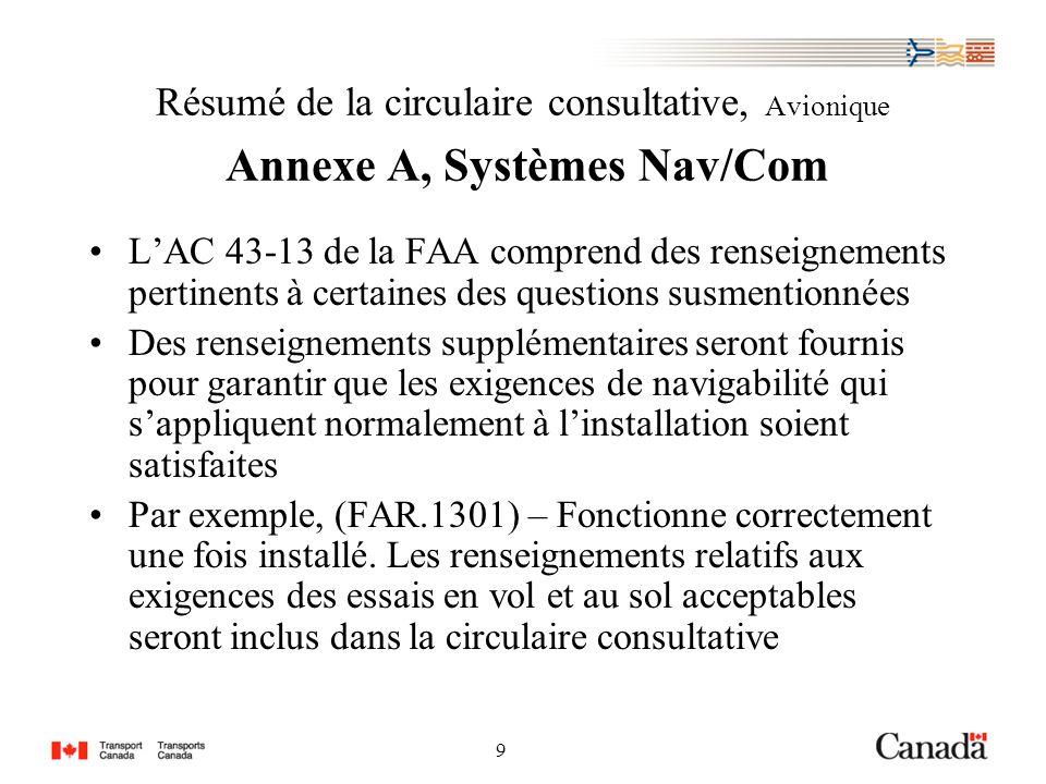 9 9 Résumé de la circulaire consultative, Avionique Annexe A, Systèmes Nav/Com LAC 43-13 de la FAA comprend des renseignements pertinents à certaines des questions susmentionnées Des renseignements supplémentaires seront fournis pour garantir que les exigences de navigabilité qui sappliquent normalement à linstallation soient satisfaites Par exemple, (FAR.1301) – Fonctionne correctement une fois installé.
