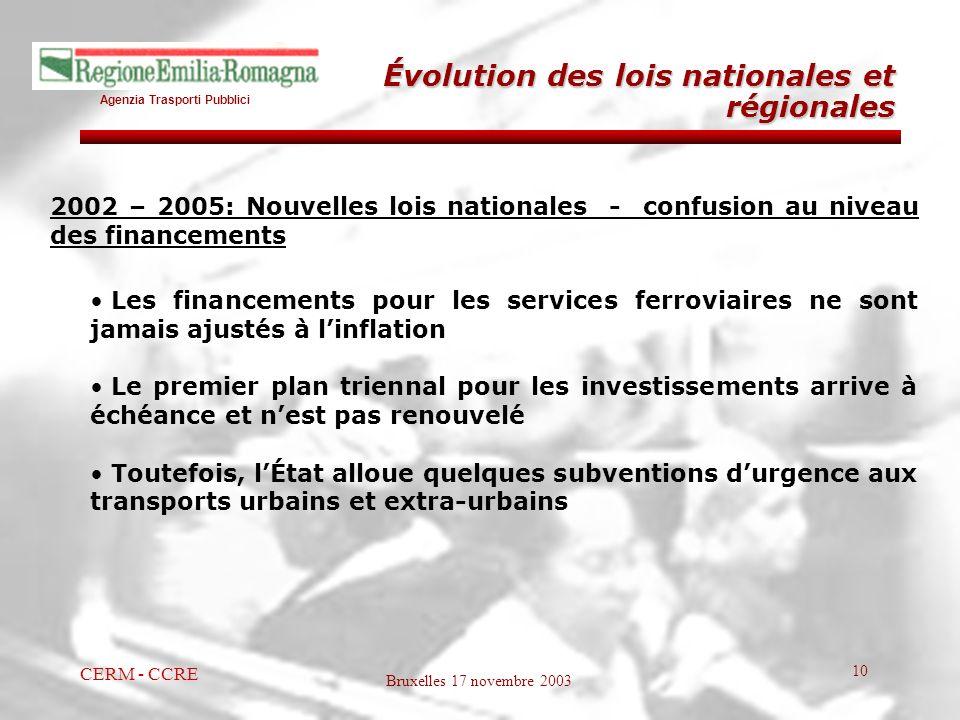Agenzia Trasporti Pubblici Bruxelles 17 novembre 2003 CERM - CCRE 10 2002 – 2005: Nouvelles lois nationales - confusion au niveau des financements Les