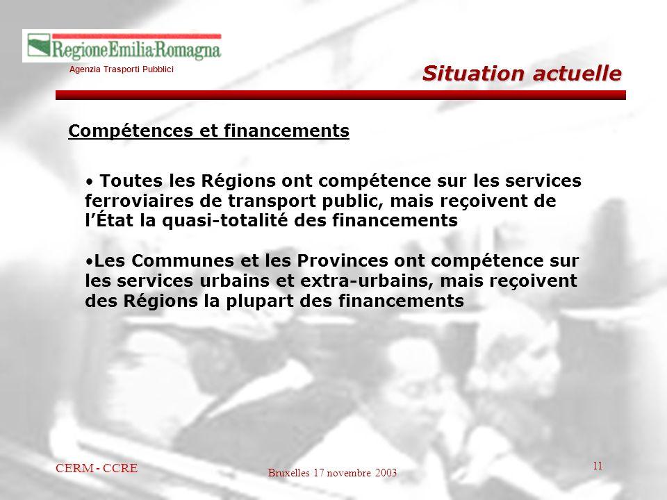 Agenzia Trasporti Pubblici Bruxelles 17 novembre 2003 CERM - CCRE 11 Situation actuelle Toutes les Régions ont compétence sur les services ferroviaire