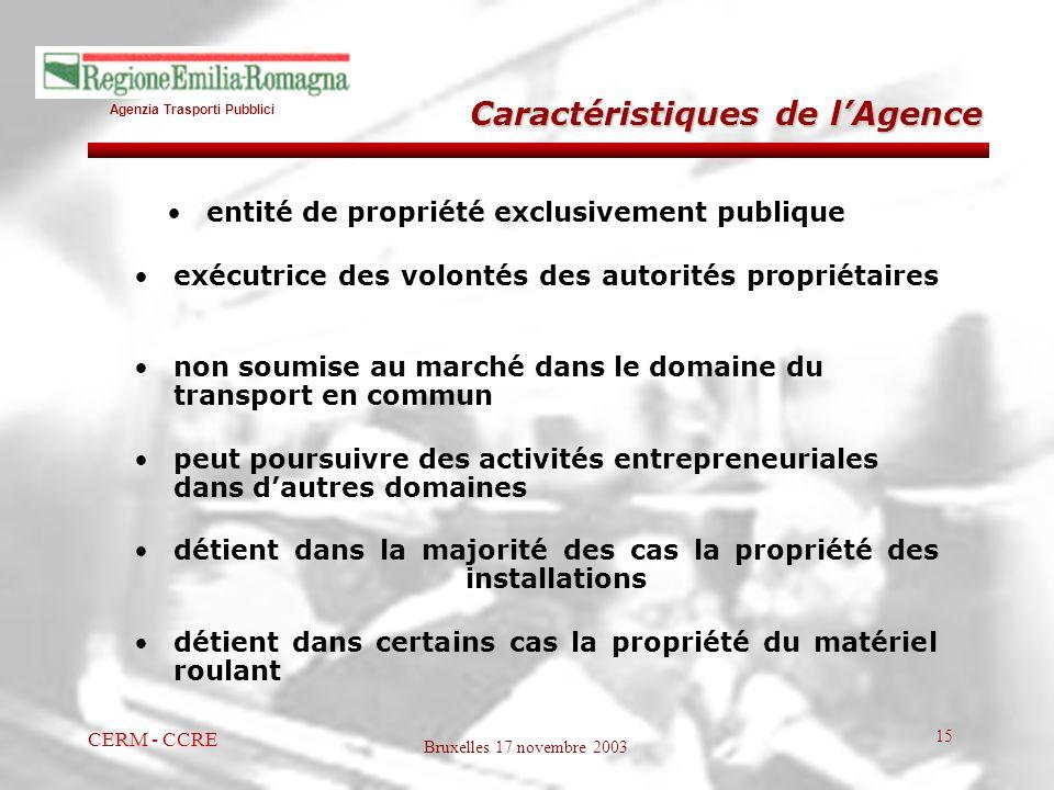 Agenzia Trasporti Pubblici Bruxelles 17 novembre 2003 CERM - CCRE 15 entité de propriété exclusivement publique exécutrice des volontés des autorités