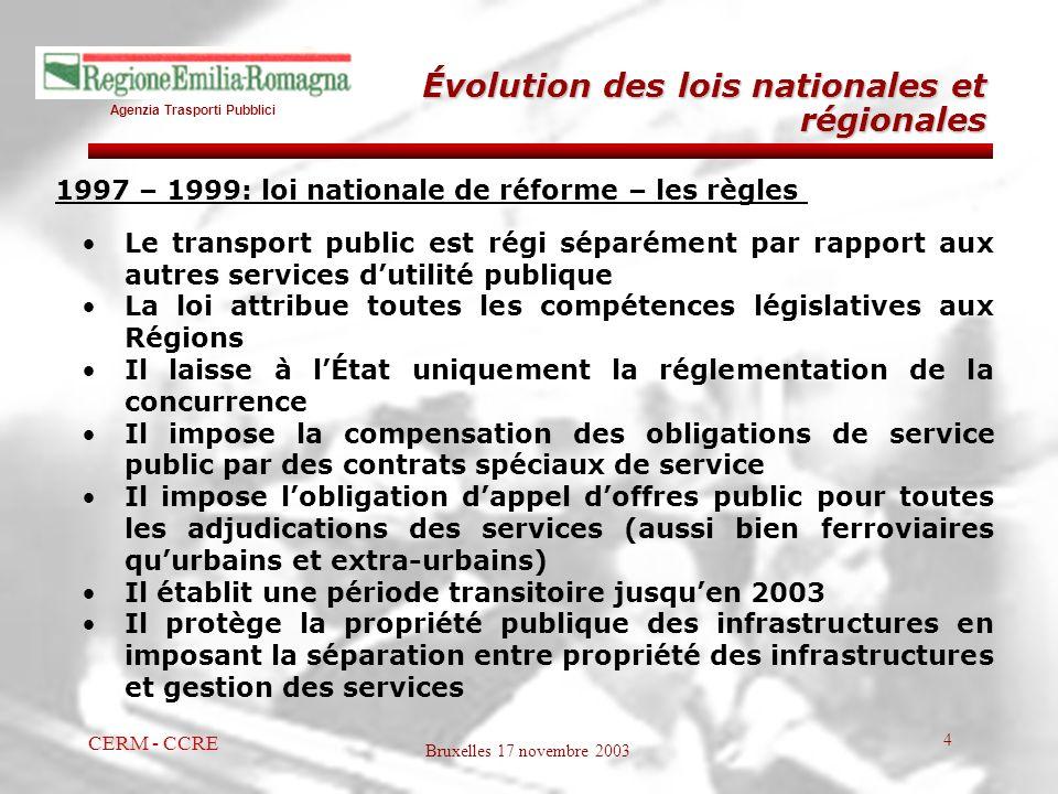 Agenzia Trasporti Pubblici Bruxelles 17 novembre 2003 CERM - CCRE 4 1997 – 1999: loi nationale de réforme – les règles Le transport public est régi sé