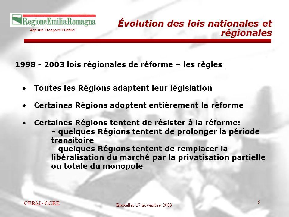 Agenzia Trasporti Pubblici Bruxelles 17 novembre 2003 CERM - CCRE 5 1998 - 2003 lois régionales de réforme – les règles Toutes les Régions adaptent le