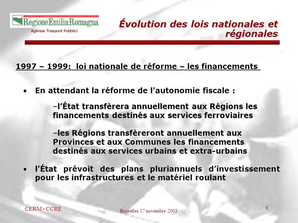 Agenzia Trasporti Pubblici Bruxelles 17 novembre 2003 CERM - CCRE 6 1997 – 1999: loi nationale de réforme – les financements En attendant la réforme d
