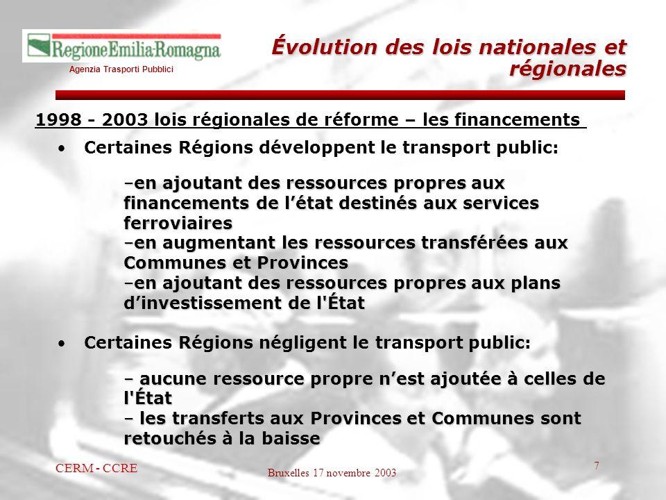 Agenzia Trasporti Pubblici Bruxelles 17 novembre 2003 CERM - CCRE 7 1998 - 2003 lois régionales de réforme – les financements Certaines Régions dévelo