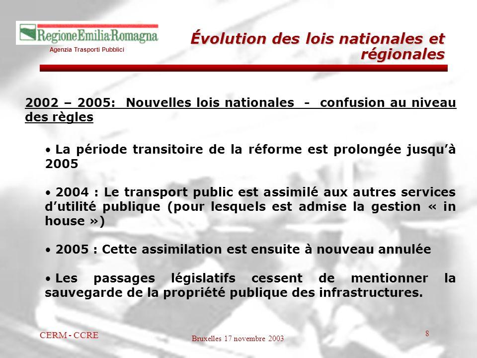 Agenzia Trasporti Pubblici Bruxelles 17 novembre 2003 CERM - CCRE 8 2002 – 2005: Nouvelles lois nationales - confusion au niveau des règles La période