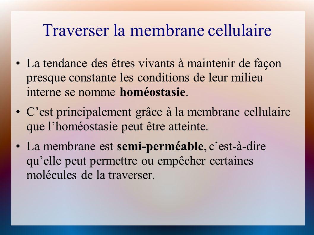 Traverser la membrane cellulaire La tendance des êtres vivants à maintenir de façon presque constante les conditions de leur milieu interne se nomme homéostasie.