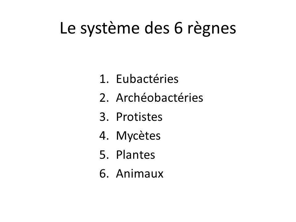 Le système des 6 règnes 1.Eubactéries 2.Archéobactéries 3.Protistes 4.Mycètes 5.Plantes 6.Animaux