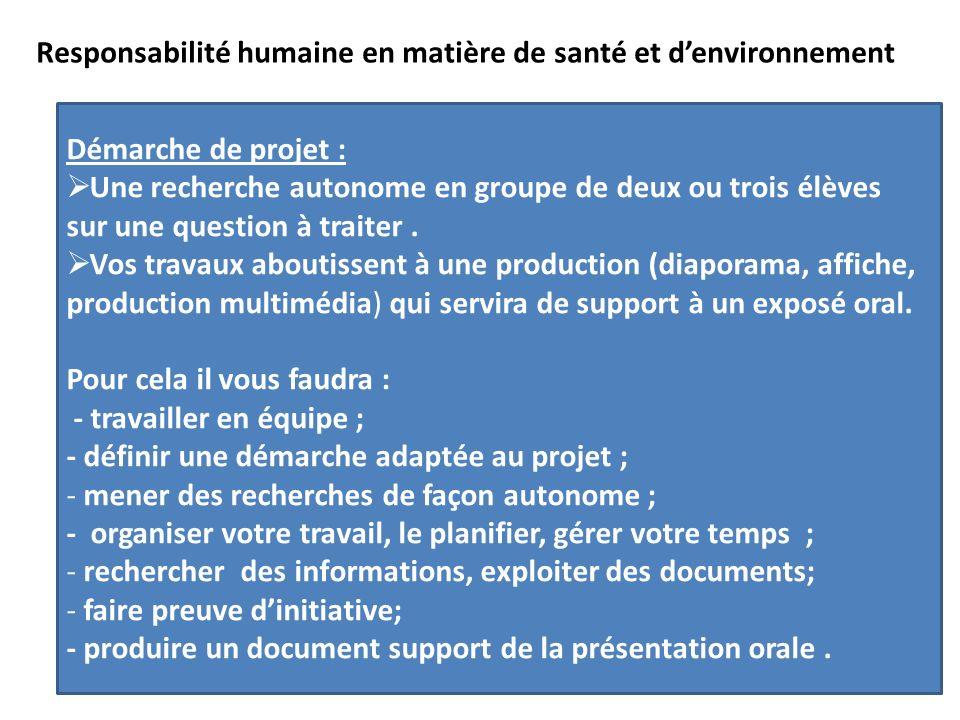 Léquilibre alimentaire Les désordres Responsabilité humaine en matière de santé et denvironnement Démarche de projet : Une recherche autonome en groupe de deux ou trois élèves sur une question à traiter.