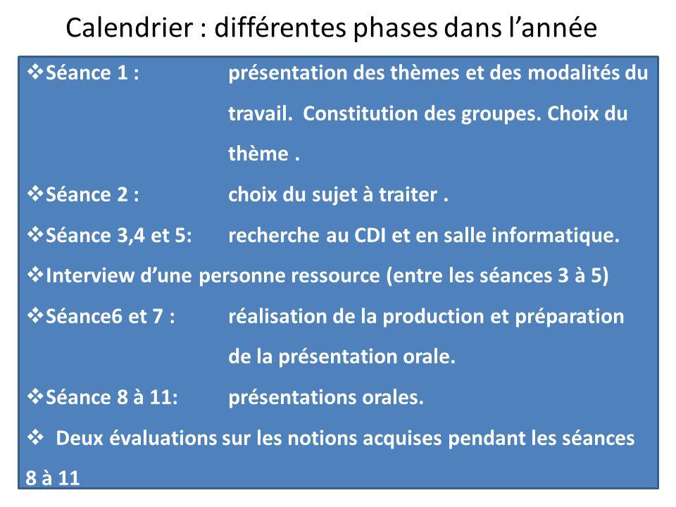 Calendrier : différentes phases dans lannée Léquilibre alimentaire Les désordres Séance 1 : présentation des thèmes et des modalités du travail.