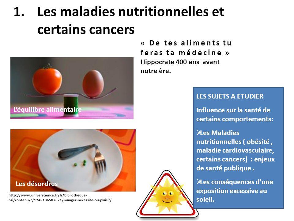 1.Les maladies nutritionnelles et certains cancers « De tes aliments tu feras ta médecine » Hippocrate 400 ans avant notre ère. Léquilibre alimentaire