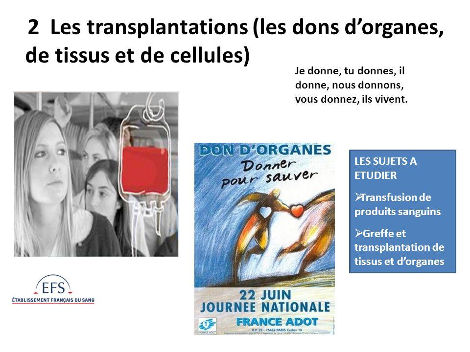 2 Les transplantations (les dons dorganes, de tissus et de cellules) Je donne, tu donnes, il donne, nous donnons, vous donnez, ils vivent. LES SUJETS