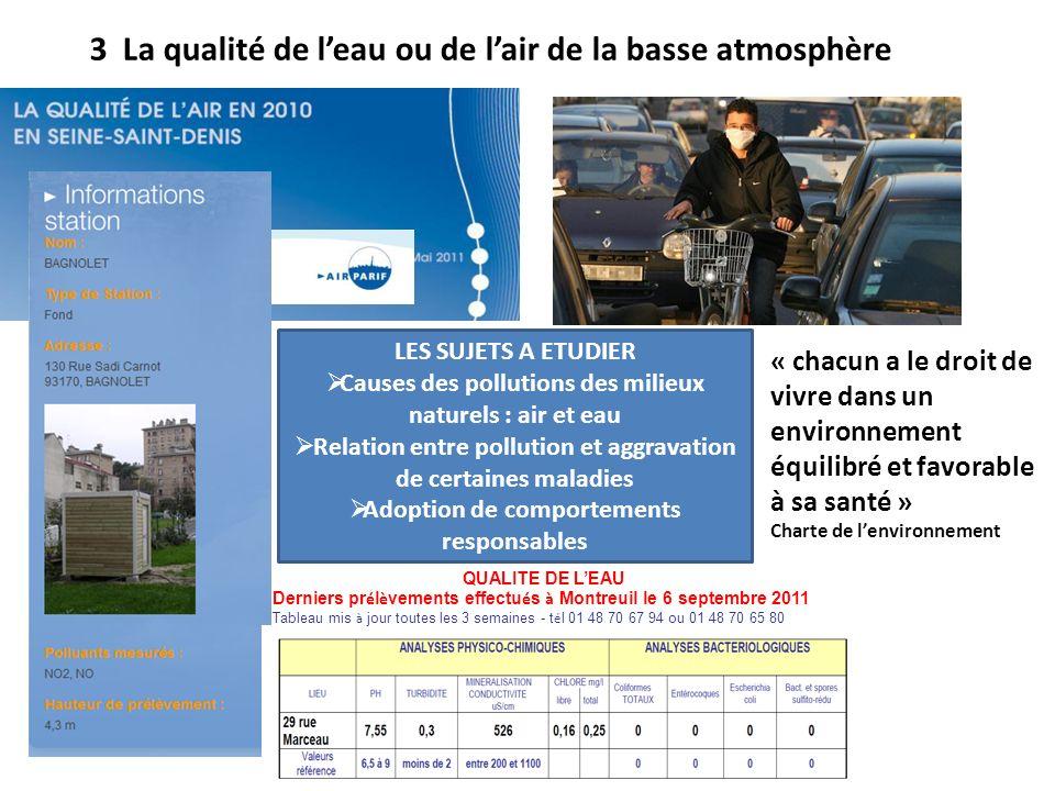 3 La qualité de leau ou de lair de la basse atmosphère QUALITE DE LEAU Derniers pr é l è vements effectu é s à Montreuil le 6 septembre 2011 Tableau m