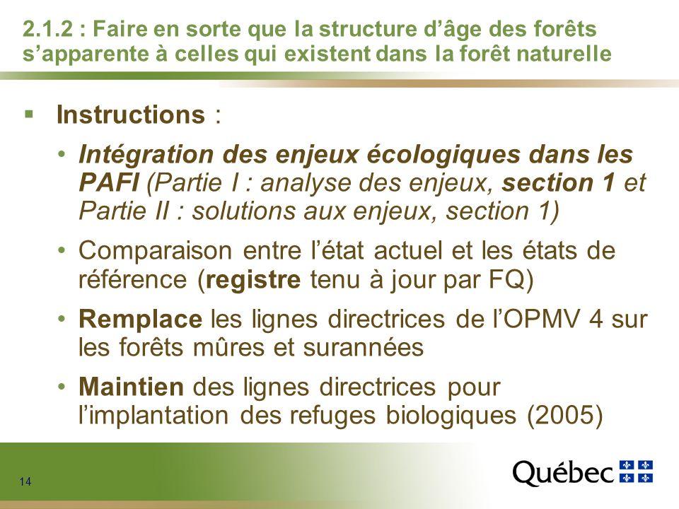 14 2.1.2 : Faire en sorte que la structure dâge des forêts sapparente à celles qui existent dans la forêt naturelle Instructions : Intégration des enj