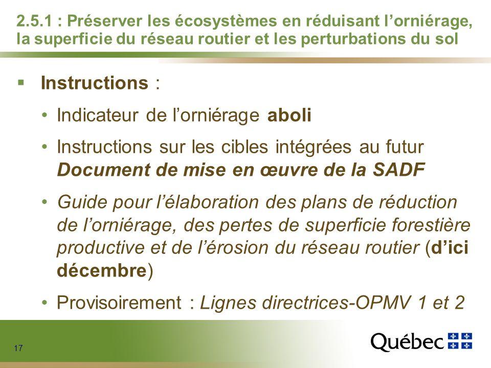 17 2.5.1 : Préserver les écosystèmes en réduisant lorniérage, la superficie du réseau routier et les perturbations du sol Instructions : Indicateur de