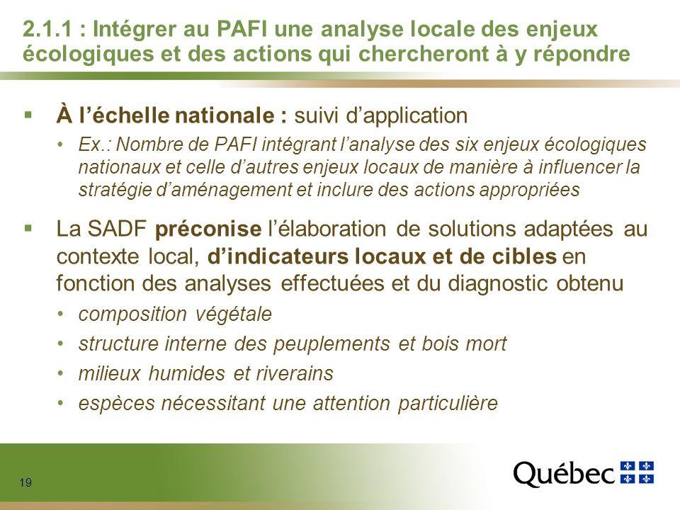 19 2.1.1 : Intégrer au PAFI une analyse locale des enjeux écologiques et des actions qui chercheront à y répondre À léchelle nationale : suivi dapplic