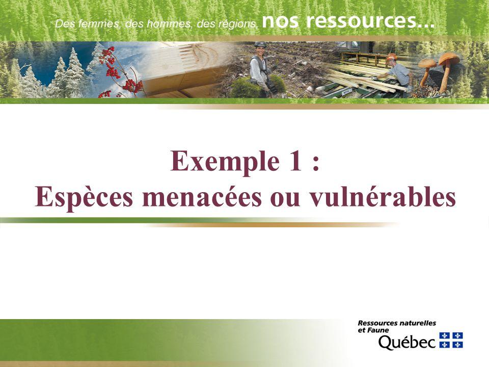 Exemple 1 : Espèces menacées ou vulnérables