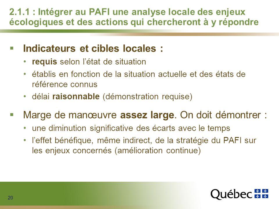 20 2.1.1 : Intégrer au PAFI une analyse locale des enjeux écologiques et des actions qui chercheront à y répondre Indicateurs et cibles locales : requ