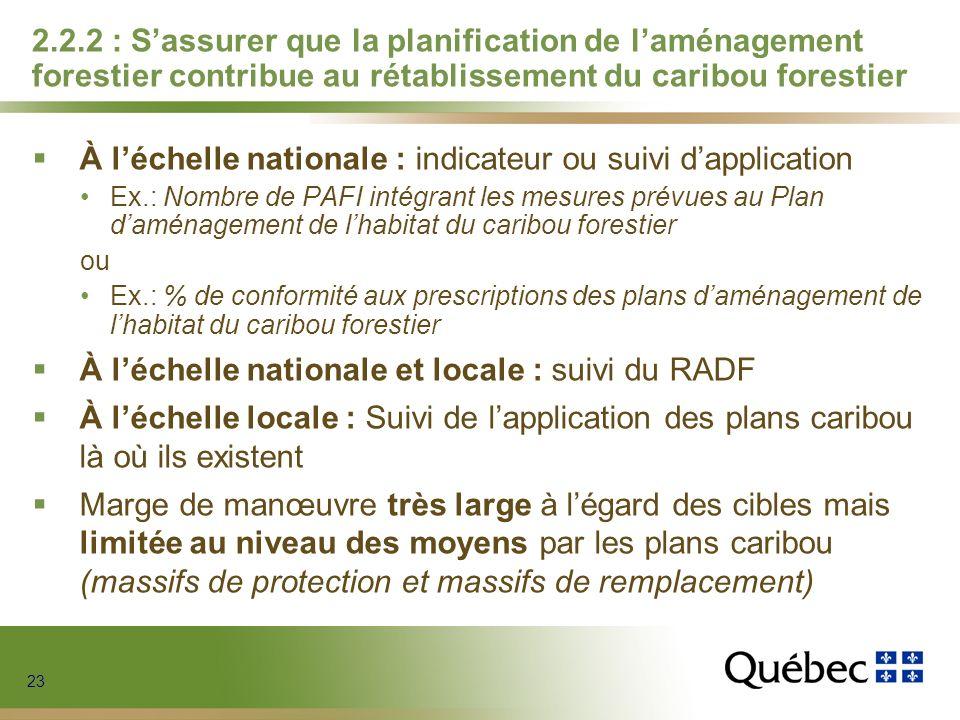 23 2.2.2 : Sassurer que la planification de laménagement forestier contribue au rétablissement du caribou forestier À léchelle nationale : indicateur
