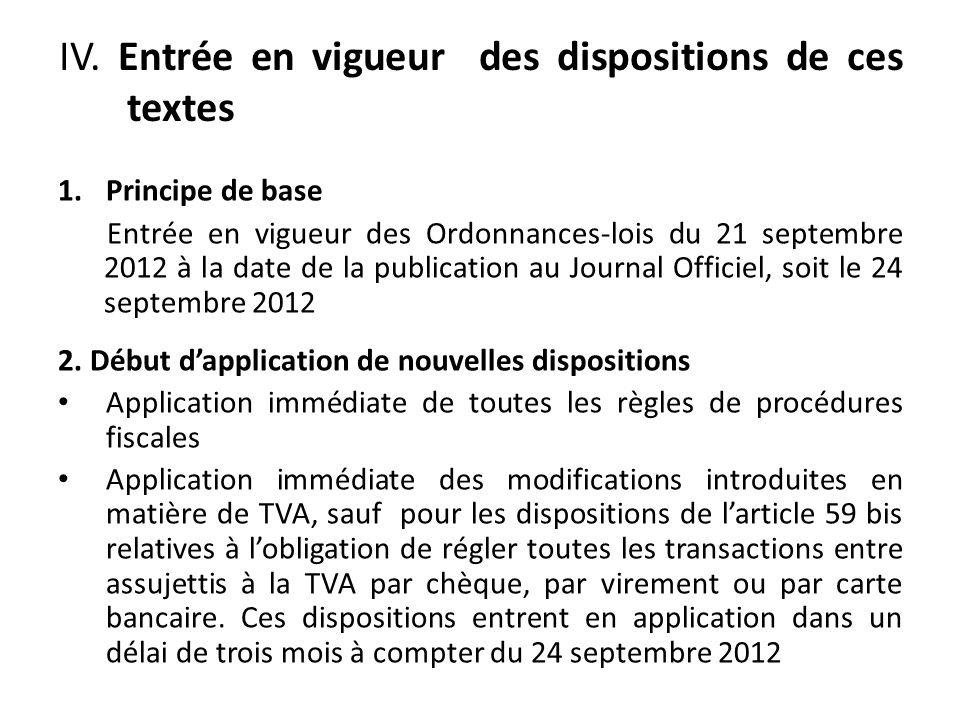 IV. Entrée en vigueur des dispositions de ces textes 1.Principe de base Entrée en vigueur des Ordonnances-lois du 21 septembre 2012 à la date de la pu