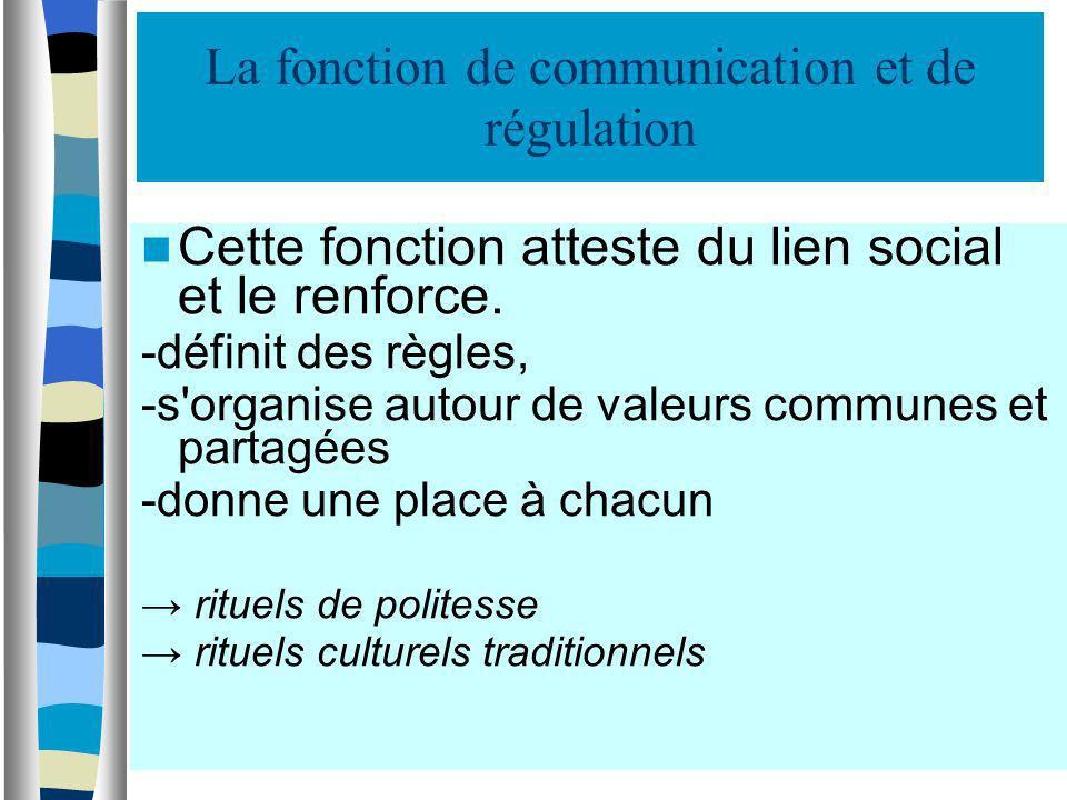 La fonction de communication et de régulation Cette fonction atteste du lien social et le renforce. -définit des règles, -s'organise autour de valeurs