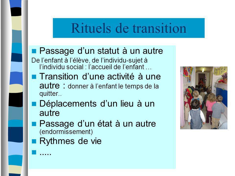 Rituels de transition Passage dun statut à un autre De lenfant à lélève, de lindividu-sujet à lindividu social : laccueil de lenfant … Transition dune