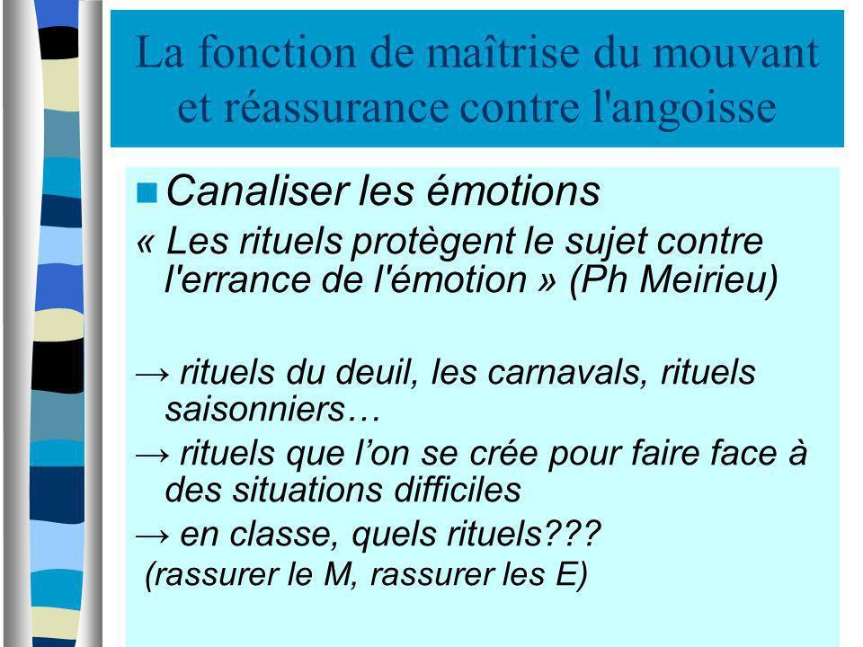 La fonction de maîtrise du mouvant et réassurance contre l'angoisse Canaliser les émotions « Les rituels protègent le sujet contre l'errance de l'émot
