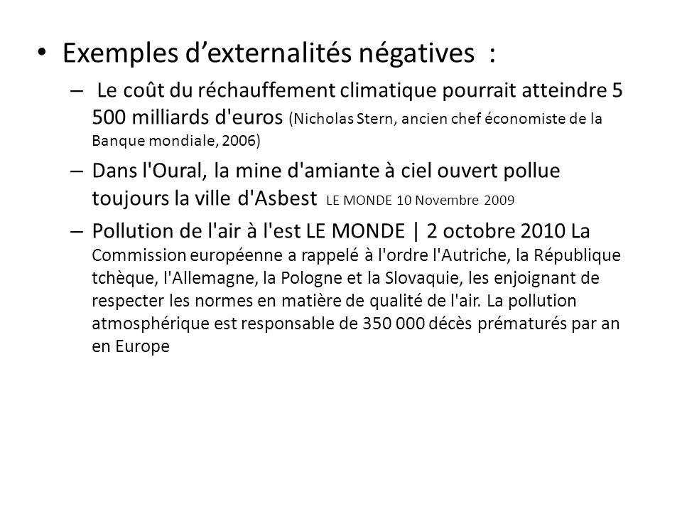 Exemples dexternalités négatives : – Le coût du réchauffement climatique pourrait atteindre 5 500 milliards d'euros (Nicholas Stern, ancien chef écono